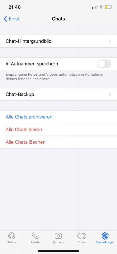Screenshot: Chat Einstellungen bei WhatsApp (iOS App)
