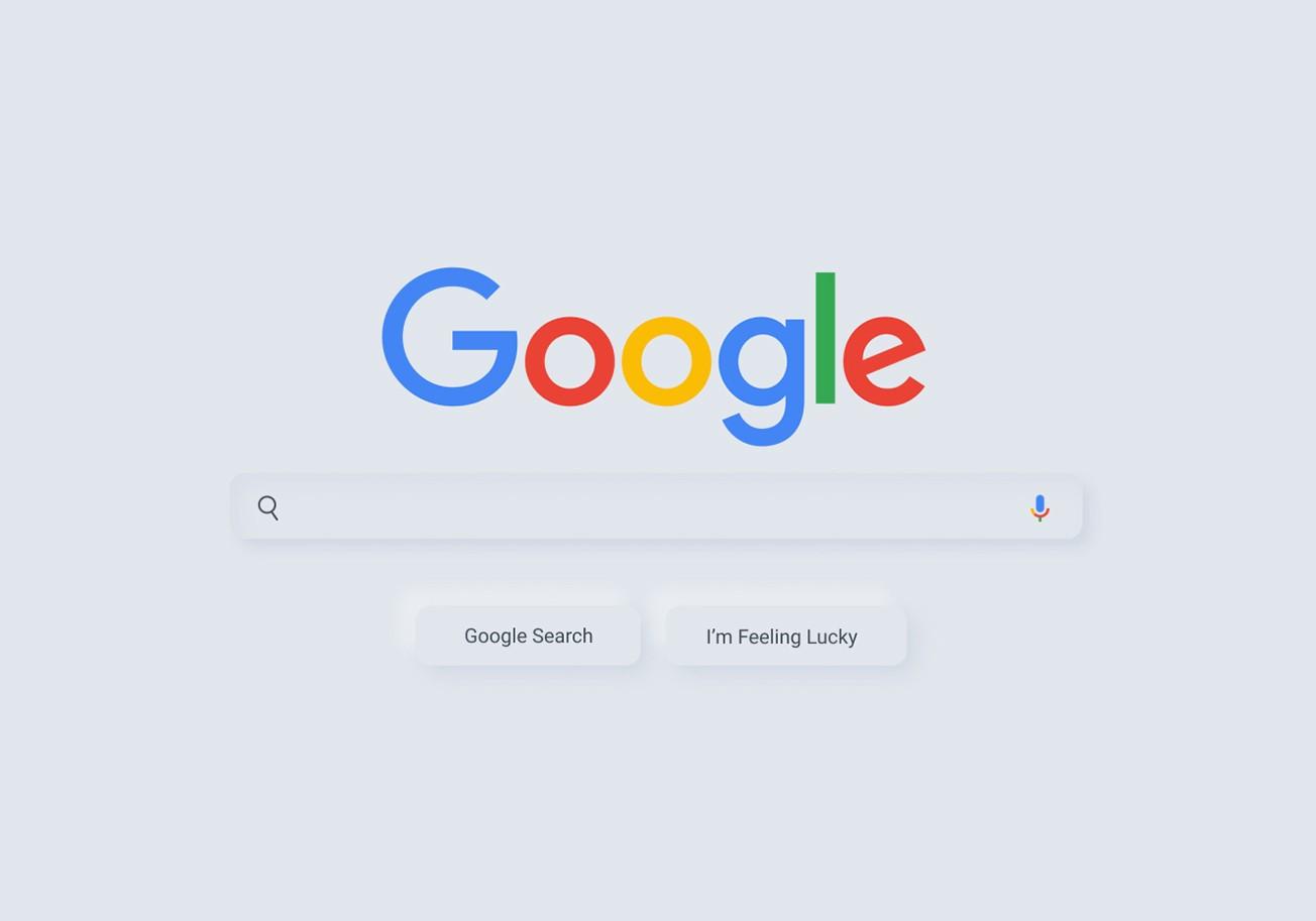 """Die Google Startseite in der """"Neumorphism-Version"""" (Quelle: uxplanet.org)"""