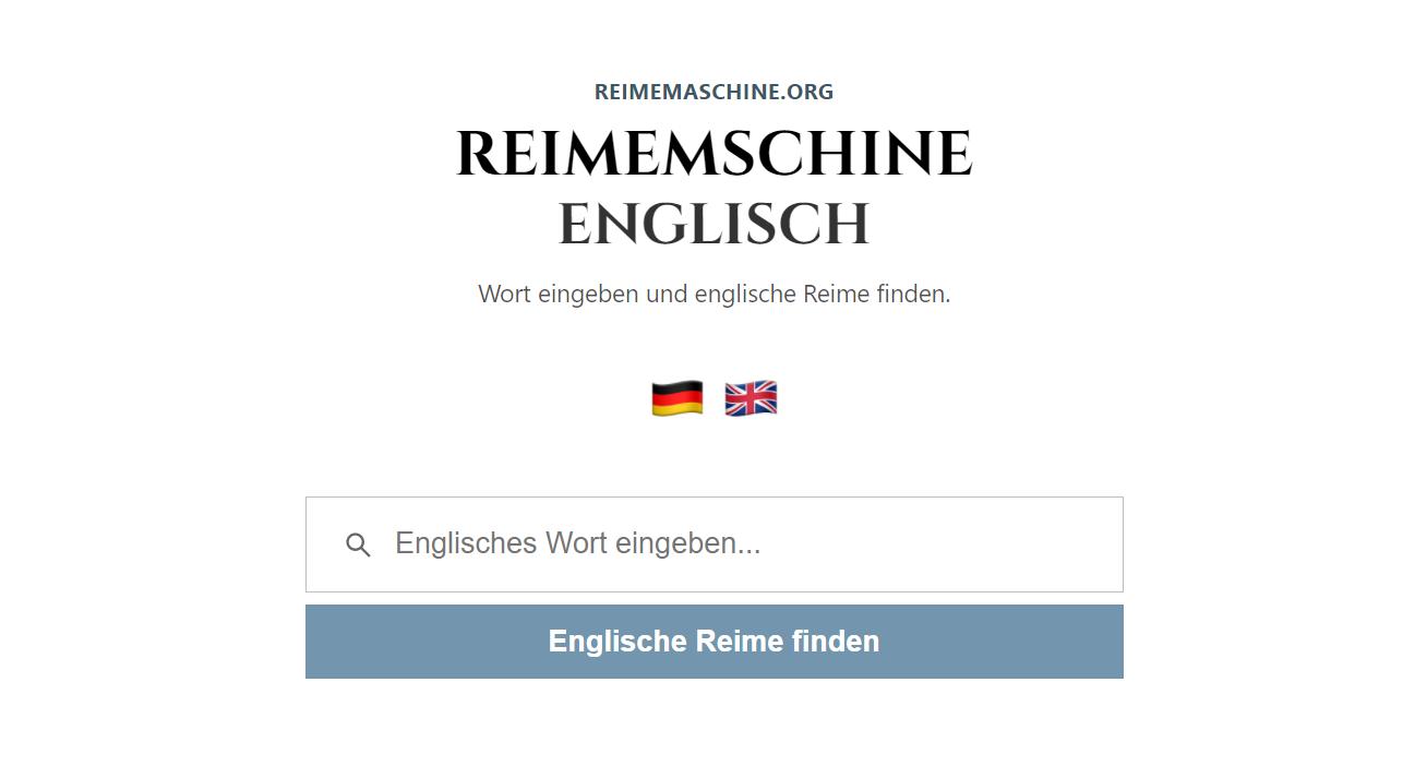 Reimemaschine englisch - passende englische Reimwörter finden