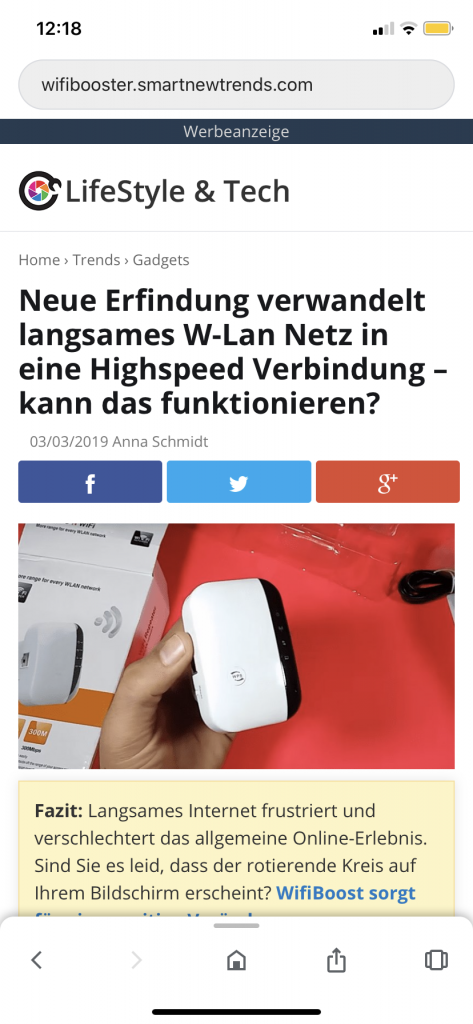 Fake-News Website mit kommerzieller Absicht - Screenshot