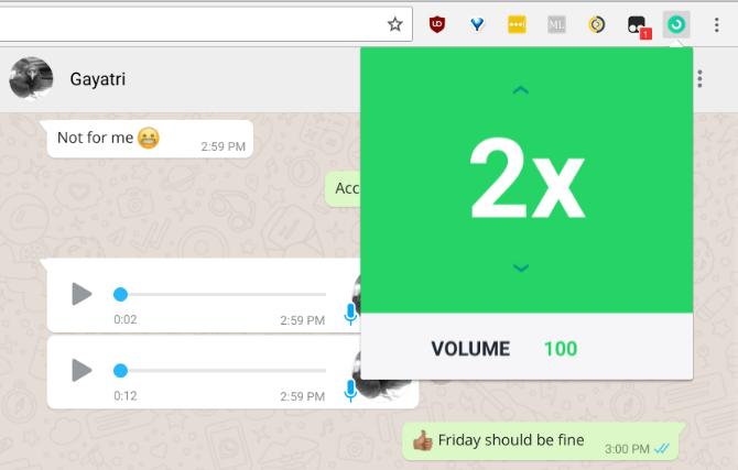 Zapp Browsererweiterung für Google Chrome - Sprachnachrichten-Lautstärke und Abspielgeschwidigkeit erhöhen