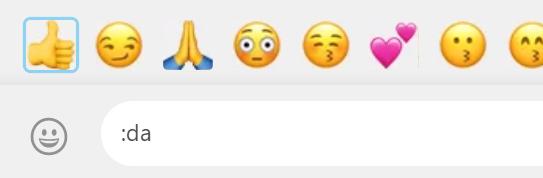 Beispiel 1: Emoji Suche mit dem Begriff ':da' bei WhatsApp Web im Browser