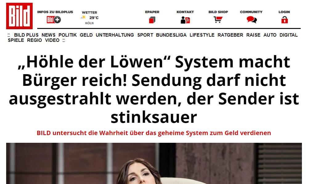 """Ein reales Beispiel einer """"Phishing-Website"""", die mit Fake-News wirbt."""