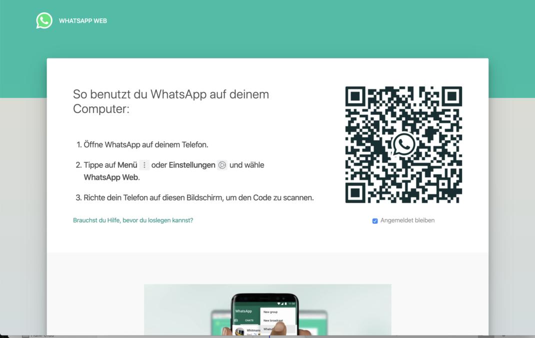 Die initiale Ansicht von WhatsApp Web: QR Code mit der App scannen