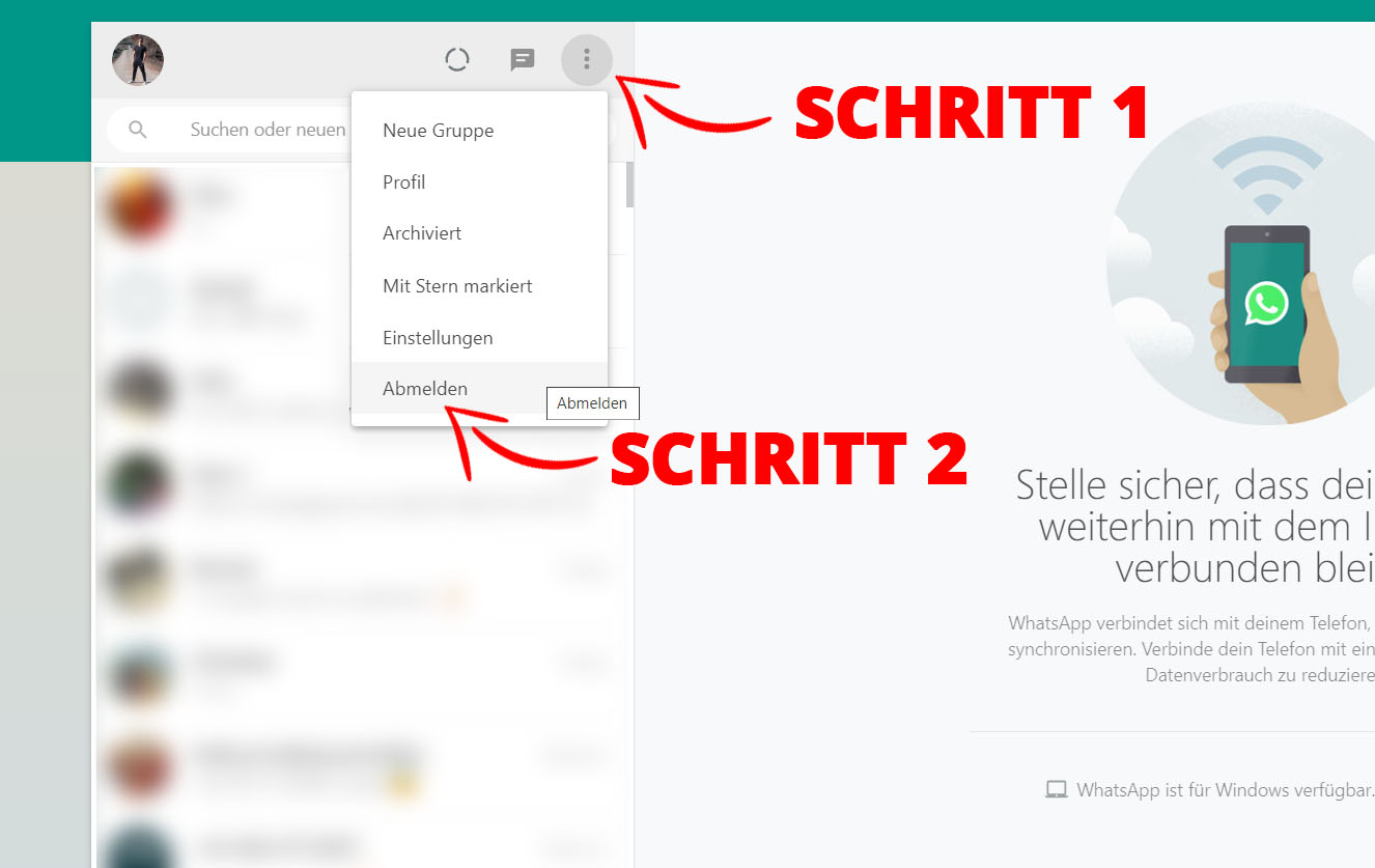 WhatsApp Web im Browser sicher ausloggen bzw. abmelden = Schritt 1: Menü, Schritt 2: Abmelden