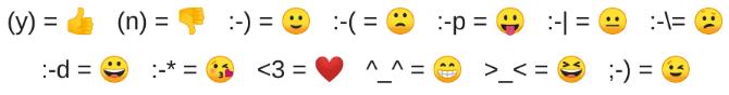 Übersicht aller Zeichen, die bei WhatsApp Web automatisch in ein richtiges Emoji-Symbol umgewandelt werden - Quelle:reddit.com